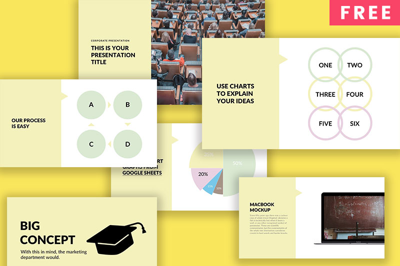 Yellow free powerpoint template powerpointify toneelgroepblik Choice Image