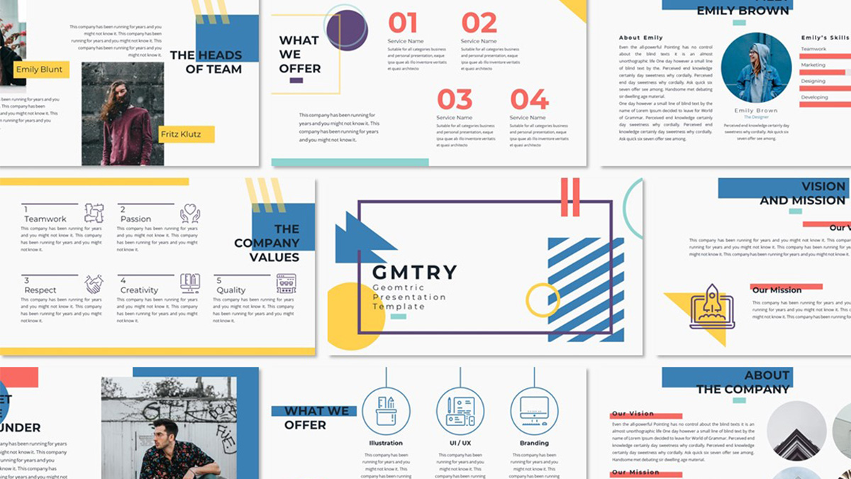 Geometric Free Powerpoint Template Creative Presentation