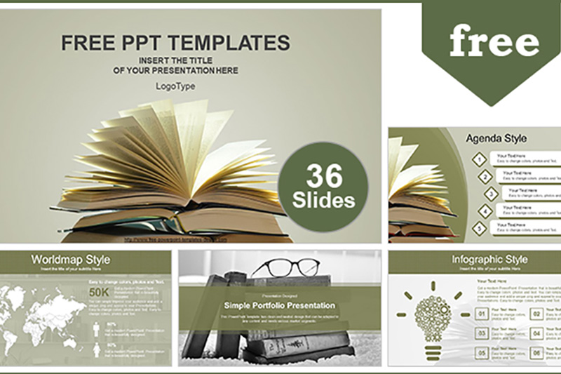 Vintage Old Book Free Powerpoint Template