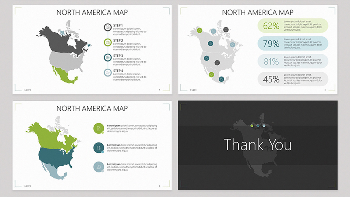 north america free powerpoint template