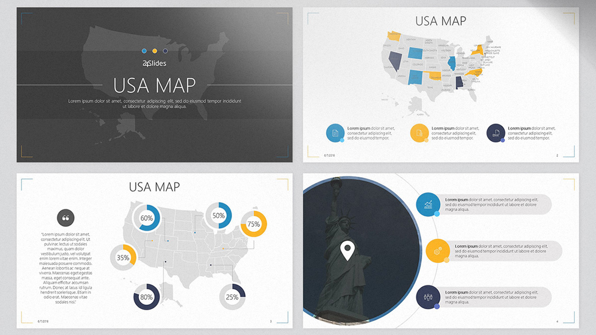 USA Map Free Powerpoint Template