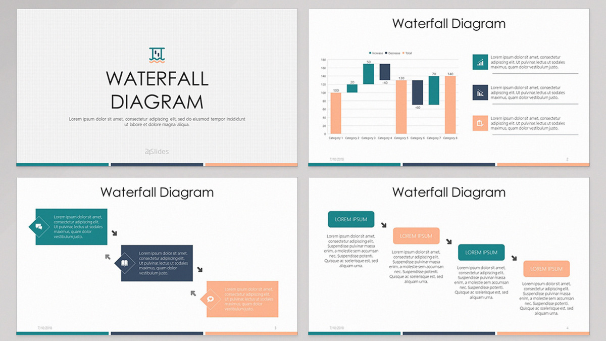 Waterfall Diagram Free Powerpoint Template
