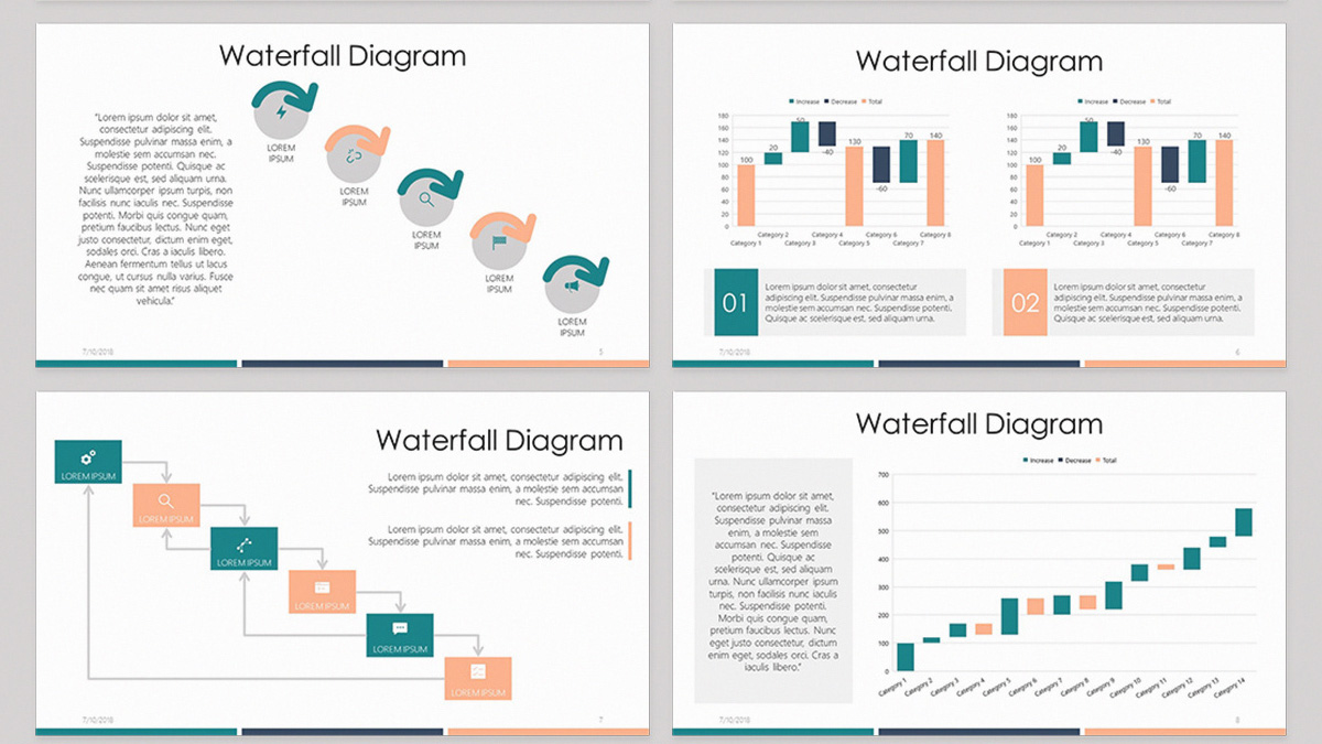 Waterfall diagram free powerpoint template ccuart Choice Image