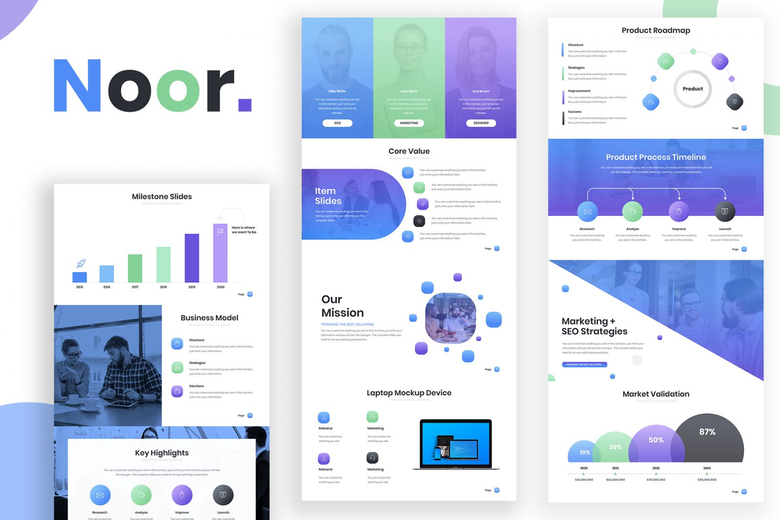 Noor gradient powerpoint template